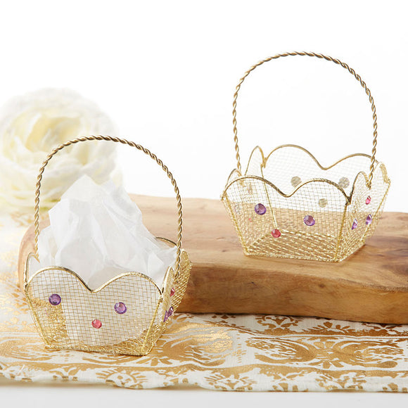 Indian Jewel Gold Wire Favor Basket with Jewel Details (Set of 6) - InCasaGifts