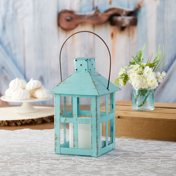 Vintage Blue Distressed Lantern - Extra Large - InCasaGifts