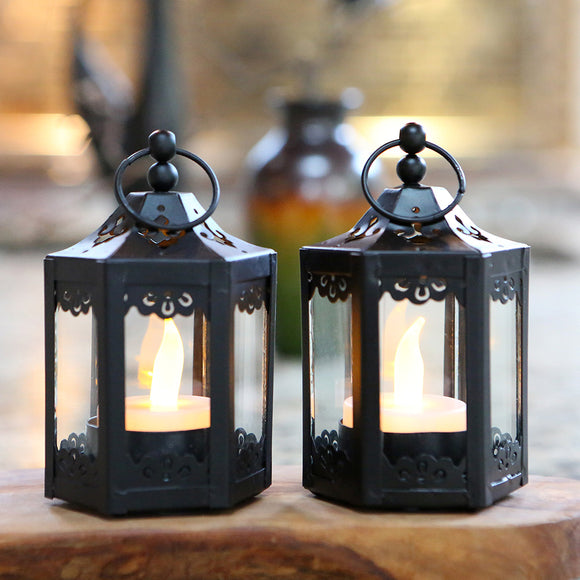 Black Hexagon Mini Lantern (Set of 6) - InCasaGifts