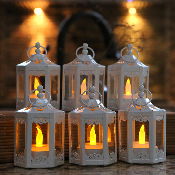 White Hexagon Mini Lantern (Set of 6) - InCasaGifts
