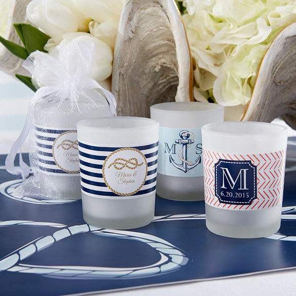 Personalized Frosted Glass Votive - Kate's Nautical Wedding Collection - InCasaGifts