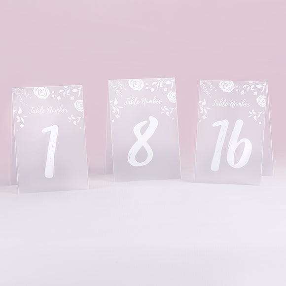 White Frosted Floral Tented Table Numbers (1-18) - InCasaGifts