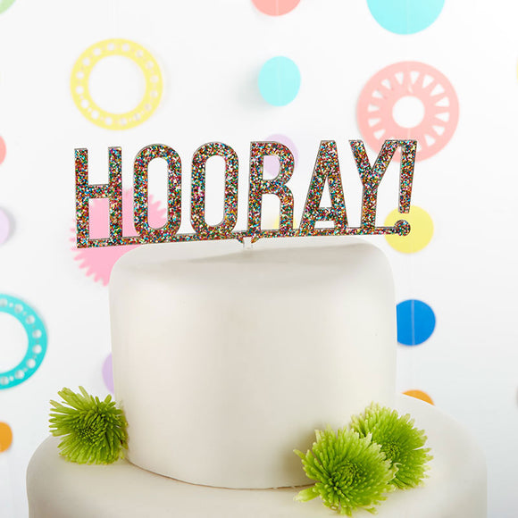 Hooray Multicolor Glitter Acrylic Cake Topper - CLOSEOUT