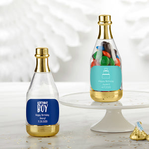 Personalized Gold Metallic Champagne Bottle Favor Container - Birthday (Set of 12) (Personalization Cost Included!) - InCasaGifts