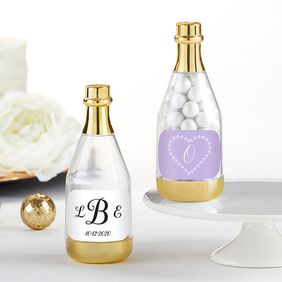 Personalized Gold Metallic Champagne Bottle Favor Container - Monogram (Set of 12) (Personalization Cost Included!)