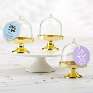 Personalized Small Bell Jar with Gold Base - Baby Shower (Set of 12)