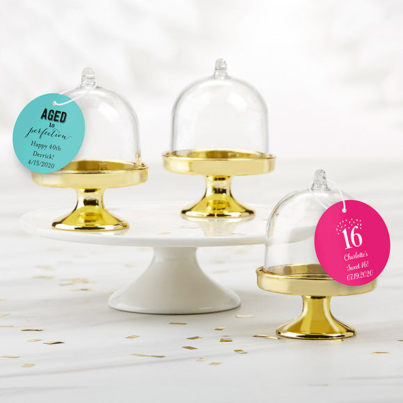 Personalized Small Bell Jar with Gold Base - Birthday (Set of 12)