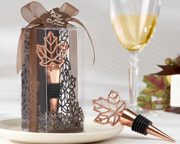 Lustrous Leaf Copper-Finish Bottle Stopper in Laser-Cut Leaf Gift Box