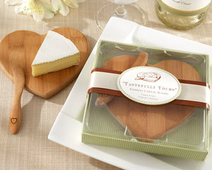 """Tastefully Yours"" Heart Shaped Bamboo Cheese Board - InCasaGifts"