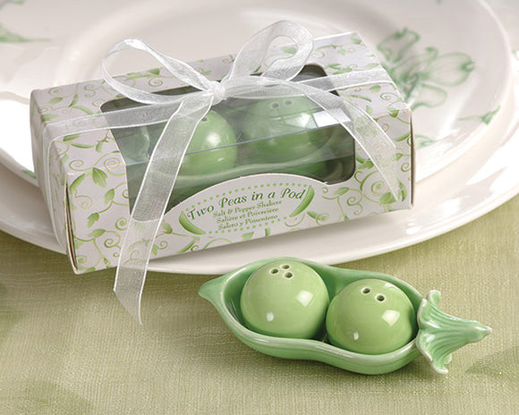Two Peas in a Pod - Ceramic Salt & Pepper Shakers in Ivy Print Gift Box - InCasaGifts