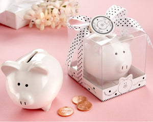 """Li'l Saver Favor"" Ceramic Mini-Piggy Bank in Gift Box with Polka-Dot Bow - InCasaGifts"