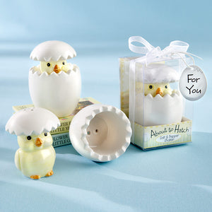 """About to Hatch"" Ceramic Baby Chick Salt & Pepper Shakers - InCasaGifts"