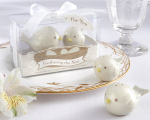 """Feathering the Nest"" Ceramic Birds Salt & Pepper Shakers - InCasaGifts"