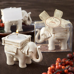 """Lucky Elephant"" Antique Ivory - Finish Tea Light Holder"