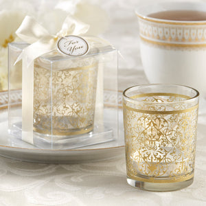 """Golden Renaissance"" Glass Tea Light Holder (Set of 4) - InCasaGifts"