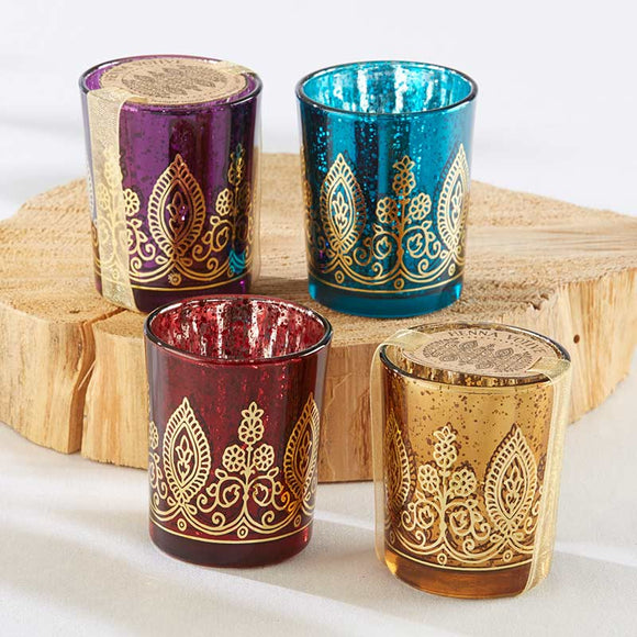 Indian Jewel Henna Votives - Assorted (Set of 4) - InCasaGifts