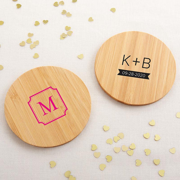 Personalized Wood Round Coaster - Monogram (Set of 12)