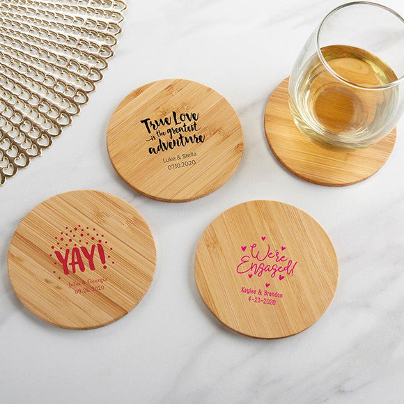 Personalized Wood Round Coaster - Wedding (Set of 12)