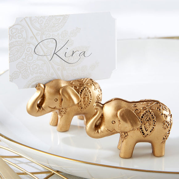 Gold Lucky Elephant Place Card Holder (Set of 6) - InCasaGifts