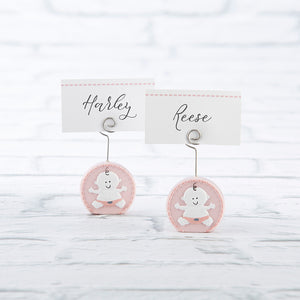Baby Girl Pink Place Card Holder (Set of 6) - CLOSEOUT