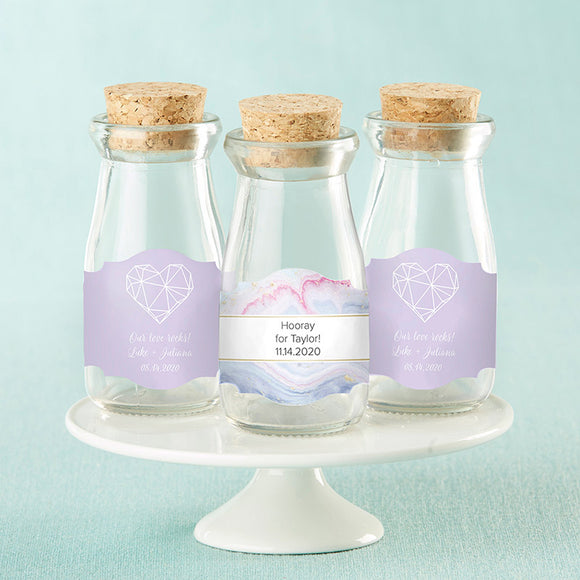 Vintage Milk Bottle Favor Jar - Elements (Set of 12) (Personalization Cost Included!)