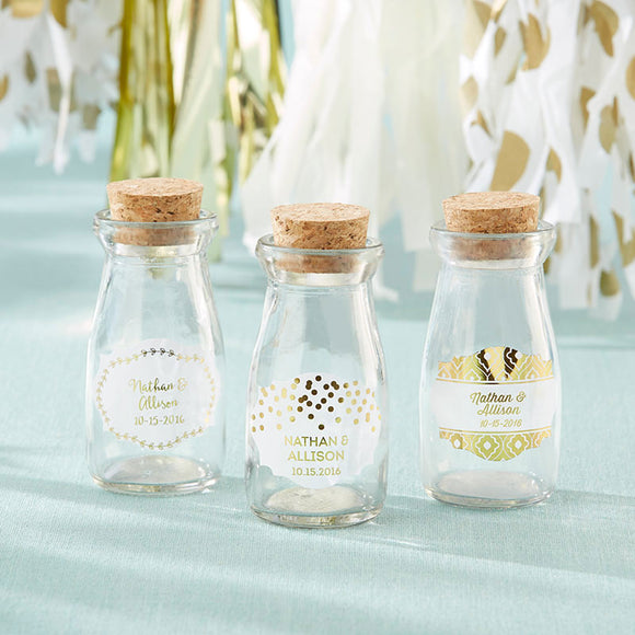 Vintage Milk Bottle Favor Jar - Gold Foil (Set of 12) (Personalization Available) - InCasaGifts