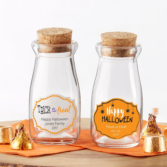 Vintage Milk Bottle Favor Jar - Halloween (Set of 12) (Personalization Available) - InCasaGifts