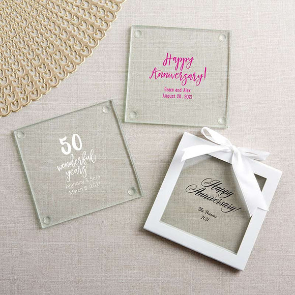 Personalized Glass Coaster - Anniversary (Set of 12) - InCasaGifts
