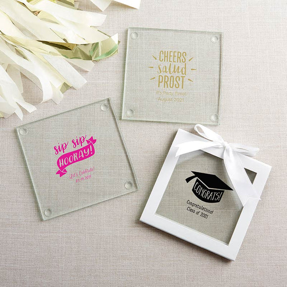 Personalized Glass Coaster - Celebration (Set of 12) - InCasaGifts