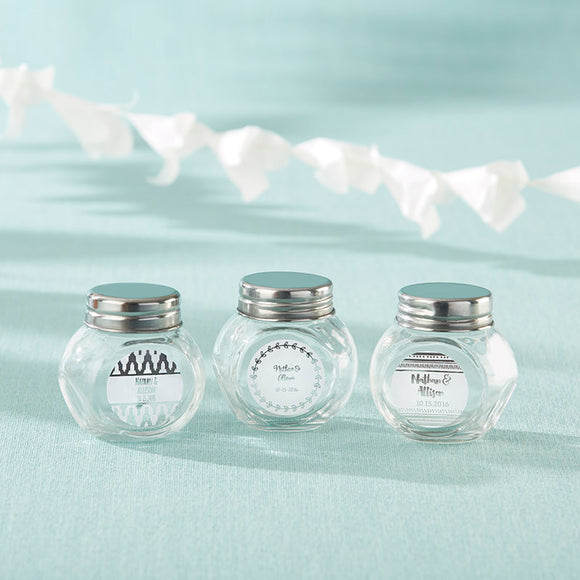 Personalized Mini Glass Favor Jar - Silver Foil (Set of 12) - InCasaGifts
