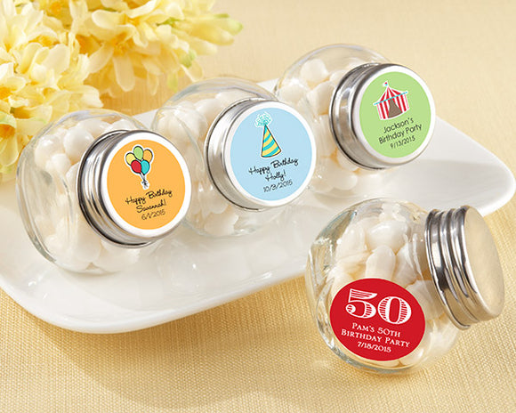 Mini Glass Favor Jar - Birthday (Set of 12) (Personalization Cost Included!)