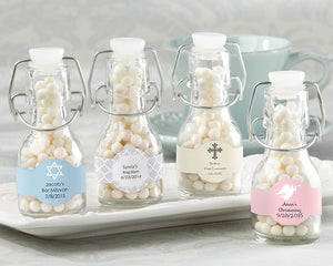 Mini Glass Favor Bottle with Swing Top - Religious (Set of 12) (Personalization Cost Included!)
