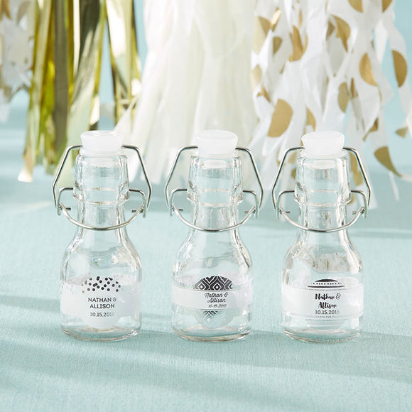 Mini Glass Favor Bottle with Swing Top - Silver Foil (Set of 12) - InCasaGifts
