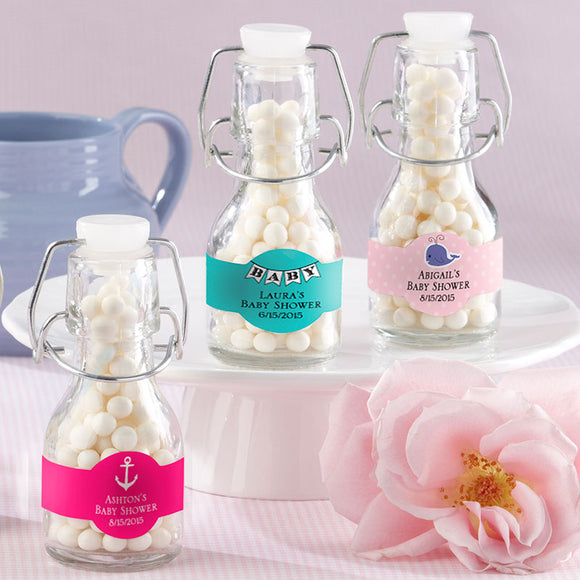 Mini Glass Favor Bottle with Swing Top - Baby (Set of 12) (Personalization Cost Included!)
