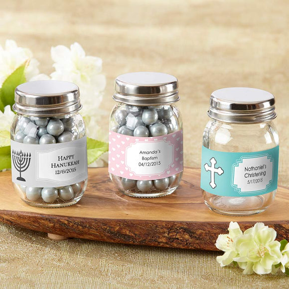 Mini Glass Mason Jar - Religious (Set of 12) (Personalization Cost Included!)