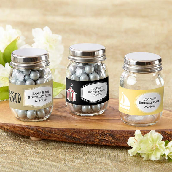 Mini Glass Mason Jar - Birthday (Set of 12) (Personalization Cost Included!)