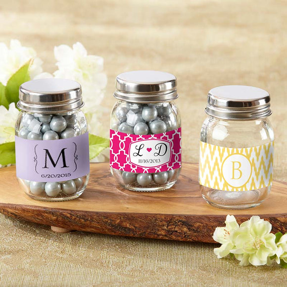 Mini Glass Mason Jar - Wedding (Set of 12) (Personalization Cost Included!)
