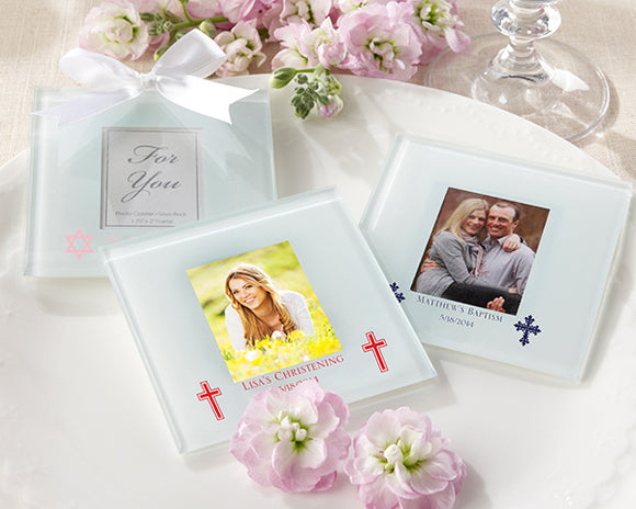 Personalized Frosted Glass Photo Coaster - Religious (Set of 12)