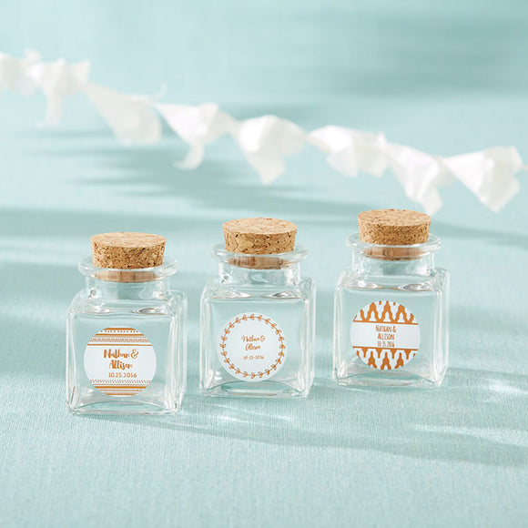 Petite Treat Square Glass Favor Jar - Copper Foil (Set of 12) - InCasaGifts