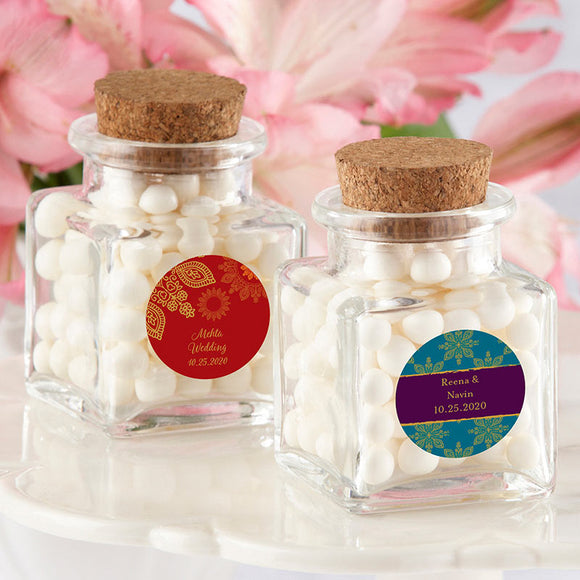 Petite Treat Square Glass Favor Jar - Indian Jewel (Set of 12) (Personalization Available)