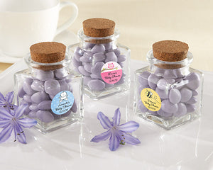 """Petite Treat"" Square Glass Favor Jar - Baby (Set of 12) (Personalization Cost Included!) - InCasaGifts"