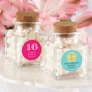 """Petite Treat"" Square Glass Favor Jar - Birthday (Set of 12) (Personalization Cost Included!)"
