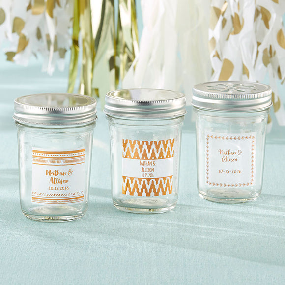 Personalized 8 oz. Glass Mason Jar - Copper Foil (Set of 12) - InCasaGifts