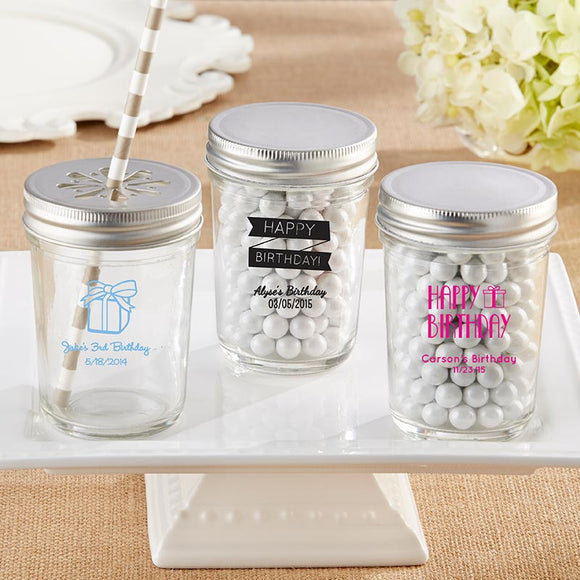 Personalized Printed 8 oz. Glass Mason Jar - Birthday (Set of 12) - InCasaGifts