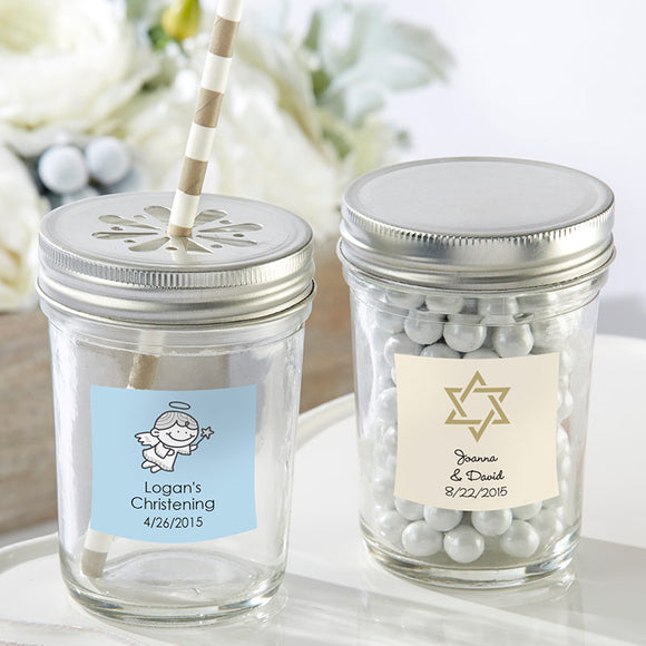 Personalized 8 oz. Glass Mason Jar - Religious (Set of 12) (Personalization Cost Included!)