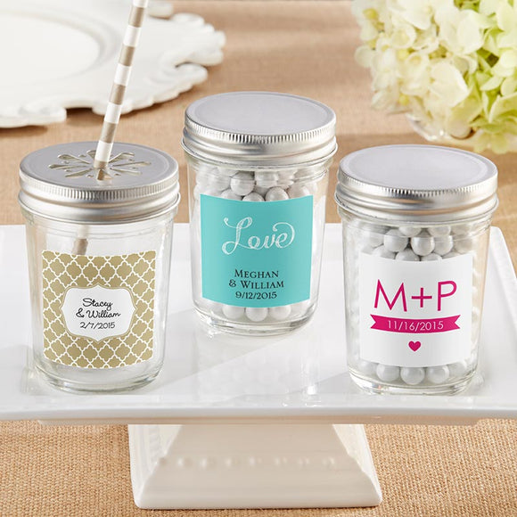 Personalized 8 oz. Glass Mason Jar - Wedding (Set of 12) (Personalization Cost Included!)