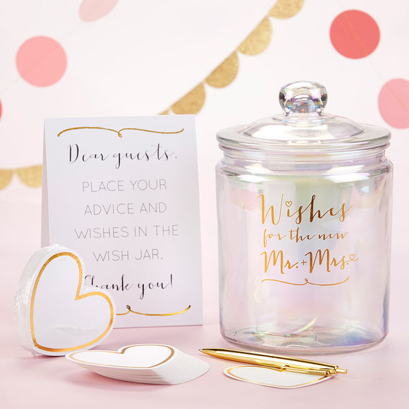 Iridescent Wedding Wish Jar with Heart Shaped Cards - InCasaGifts