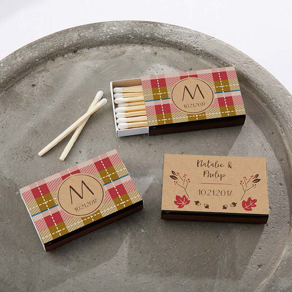 Personalized Black Matchboxes - Fall (Set of 50) - InCasaGifts
