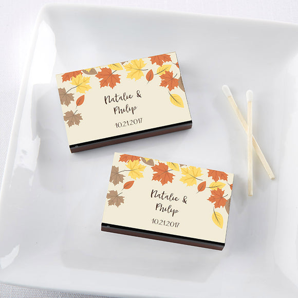 Personalized Black Matchboxes - Fall Leaves (Set of 50) - InCasaGifts