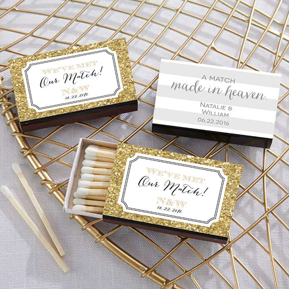 Personalized Black Matchboxes - Wedding (Set of 50) - InCasaGifts